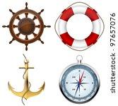 sea symbols on a white | Shutterstock .eps vector #97657076