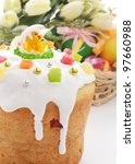 easter cake and basket of... | Shutterstock . vector #97660988