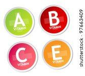 vitamin a  b  c and e stickers | Shutterstock .eps vector #97663409