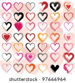 Set Of Scribble Hearts With...