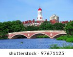 Stock photo john w weeks bridge and clock tower over charles river in harvard university campus in boston with 97671125