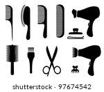 hair salon silhouette icons