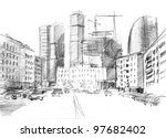 Hand Drawn Of A Big City With ...
