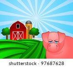 Pig On Green Pasture With Red...