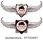 grunge super bike shield with...   Shutterstock .eps vector #97743497