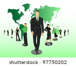 business crew on world map ...