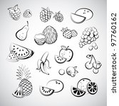 sketch of fruit icons | Shutterstock .eps vector #97760162
