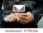 businessman touch smart phone... | Shutterstock . vector #97781186