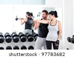 gym woman personal trainer man... | Shutterstock . vector #97783682