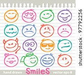 set of hand drawn smiles on... | Shutterstock .eps vector #97792256