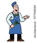 greengrocer holding a fresh... | Shutterstock .eps vector #97793054