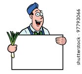 greengrocer holding a fresh... | Shutterstock .eps vector #97793066
