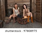 brunette and blonde cowgirls... | Shutterstock . vector #97808975