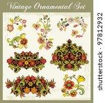 vector floral ornamental set in ...   Shutterstock .eps vector #97812932