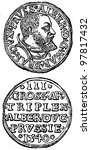 """Small photo of Threepenny coin of Duke Albrecht of Prussia 1525 - 1568 - an illustration to articke """"Coins"""" of the encyclopedia publishers Education, St. Petersburg, Russian Empire, 1896"""