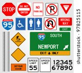 road signs illustration | Shutterstock .eps vector #97825115