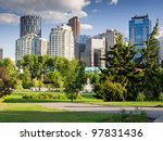 Beautiful sunny summer day in Calgary Downtown. Beautiful view of downtown of the biggest Alberta city - Calgary. Image taken from Prince