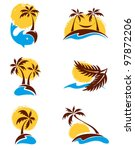 Set Of Logotypes   Palm Trees