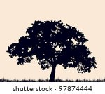 Silhouette Of Tree With Grass....