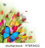 Stock photo beautiful spring flowers with butterflies 97893422