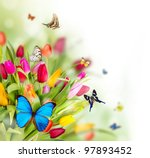 Stock photo beautiful spring flowers with butterflies 97893452
