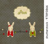 Vintage scrap template with bunnies, love card - stock vector