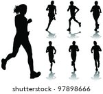 running silhouettes with... | Shutterstock .eps vector #97898666