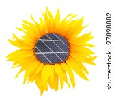 Sunflower with solar panel. Environmental concept. Pure energy metaphor. - stock photo