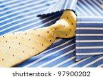 closeup of blue shirt with... | Shutterstock . vector #97900202