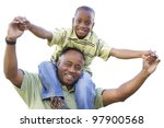 african american son rides dad... | Shutterstock . vector #97900568