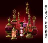 9 Bottles With Golden Ornament...