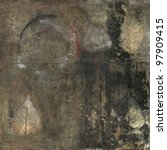 Small photo of Abstract painting with bodhi leaves and circle.