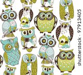 Stock vector seamless owl pattern 97913405