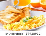 breakfast with scrambled eggs ...