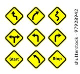 multi yellow traffic sign to... | Shutterstock . vector #97928942