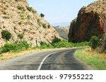 turn of mountain road in... | Shutterstock . vector #97955222