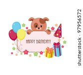 birthday card with puppy | Shutterstock . vector #97956572