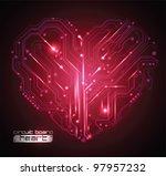 circuit board heart background  ... | Shutterstock .eps vector #97957232