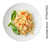 pasta fettuccine with salmon... | Shutterstock . vector #97962965