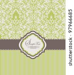 green damask invitation card | Shutterstock .eps vector #97966685