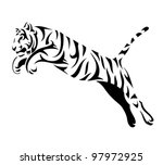 tribal tiger jump   vector... | Shutterstock .eps vector #97972925