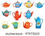 set of a teapots on white... | Shutterstock . vector #97975025