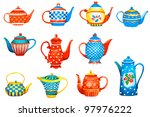 set of a teapots on white... | Shutterstock .eps vector #97976222