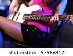 young guitar player with... | Shutterstock . vector #97986812