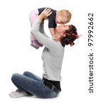 A mother playing with her daughter. Happy family concept. - stock photo