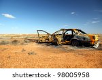 Rusty Wrecked Car In Outback...