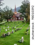Church Cemetery With In Norway.