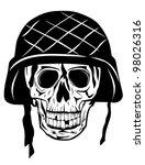 Vector image of  skull in an army helmet