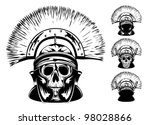 vector image of skull in  helmet