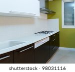 Kitchen modern design with integrated appliances - stock photo